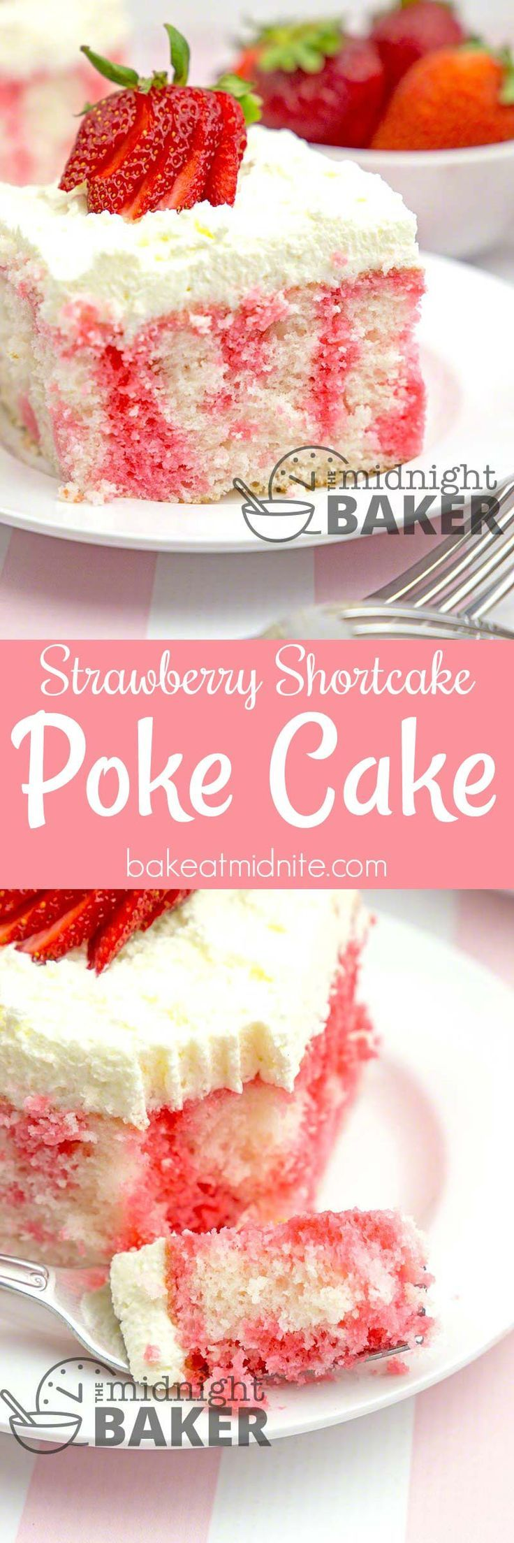 Here's the delicious flavor of strawberry shortcake in an easy-to-make poke cake. (Strawberry Dessert Recipes)