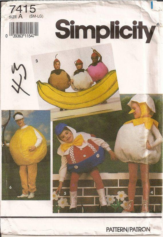Vintage Costumes Sewing Pattern Simplicity 7415 Banana