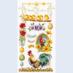 About chickens: borduurpakket met telpatroon