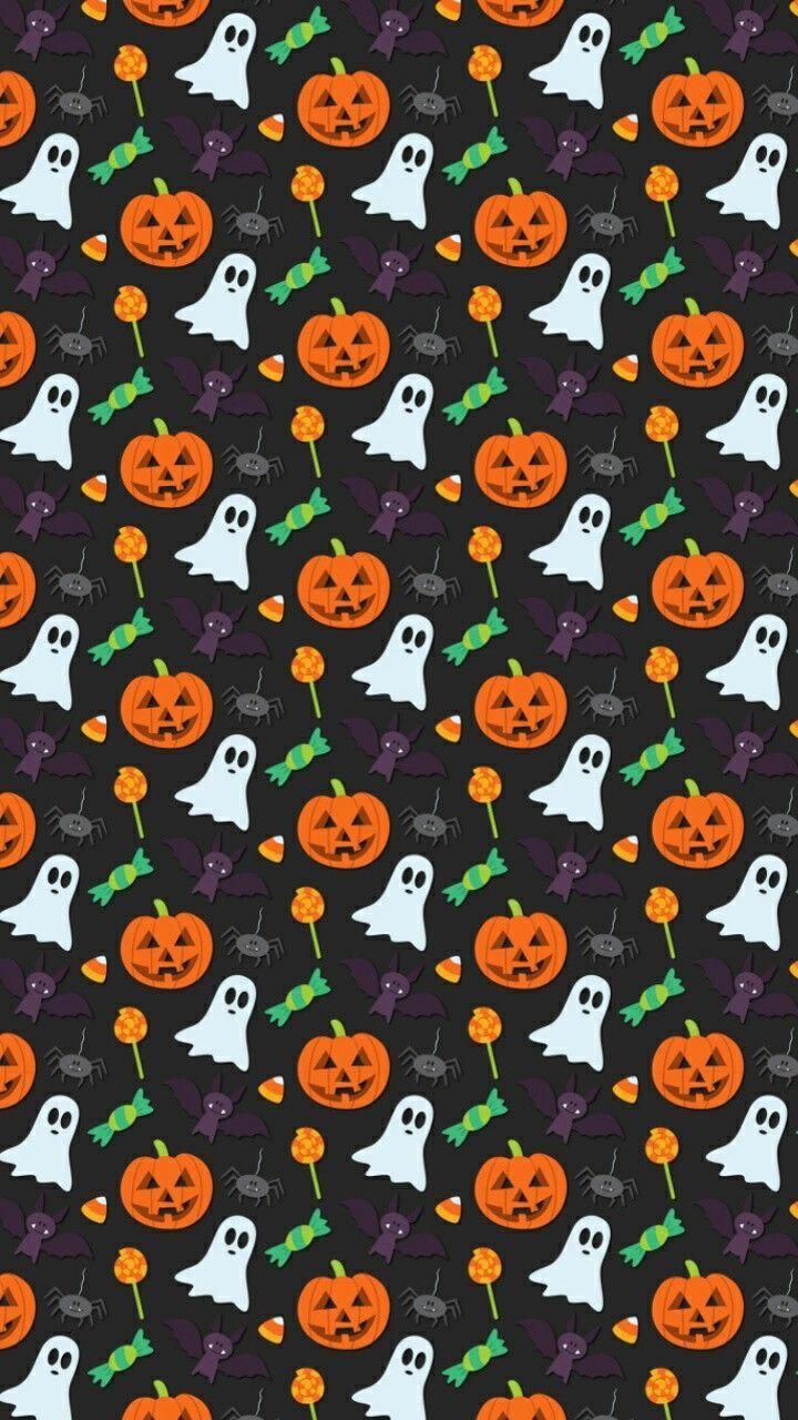 Ghosts Pumpkins Bats Spiders Candy Corn Halloween Wallpaper Background Halloween Wallpaper Halloween Wallpaper Cute Halloween Wallpaper Iphone