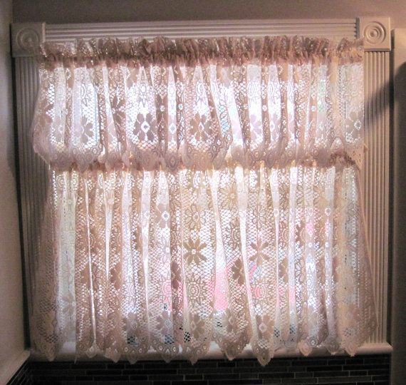 Vintage beige color crochet floral patterned drapes window curtains two layers kitchen bathroom small room window curtain drapes made in USA by HTArtcraftAndVintage on Etsy, $38.75  -  Christmas Sales