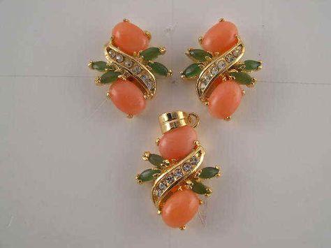 Pink Corals Earrings, Coral Roses & Tulips #GoldJewelleryModel