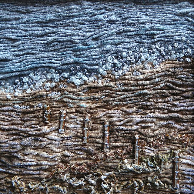 Shoreline, via Flickr. I love the way she works twigs into her work . . . by Fiona Rainford - beautiful