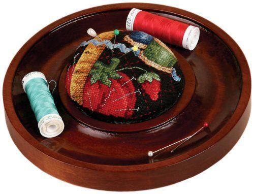 "Sudberry House Mahogany Round Pincushion Tray 7"" 3 3/4"" Design Area 15761 - http://needlework.diysupplies.org/needlepoint/supplies/sudberry-house-mahogany-round-pincushion-tray-7-3-34-design-area-15761/"