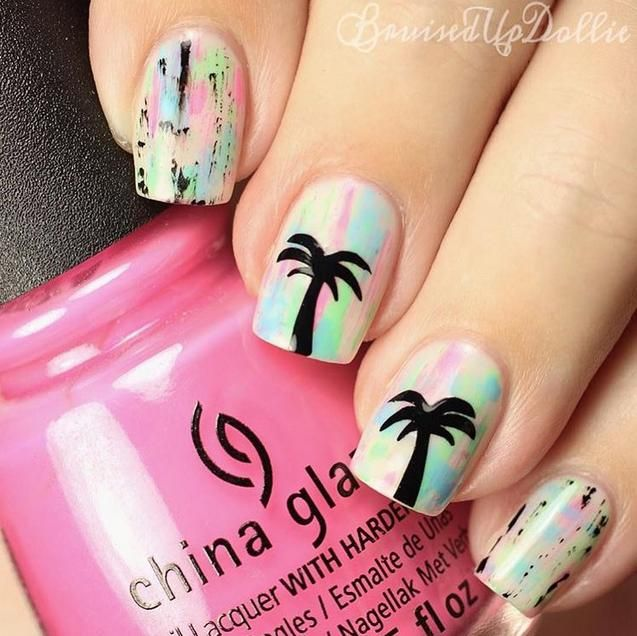 neon palm tree Cali summer for #bruisedupdollie using China Glaze 'UV Meant To Be', 'Glow With The Flow' and 'Treble Maker'.