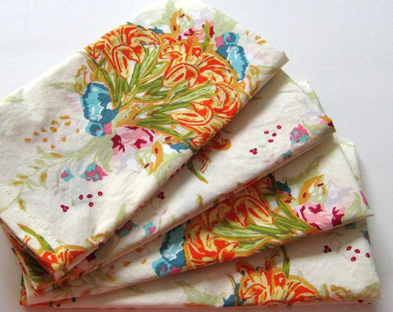 Cloth Napkins  Set of 4  Cream Yellow Orange Blue by ClearSkyHome, $18.00
