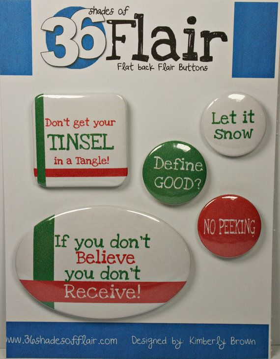 Christmas Fun Flat backed Flair Buttons by 36ShadesofFlair on Etsy, $4.75