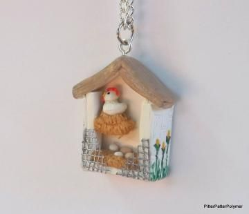 Small Chicken Necklace Miniature Chicken Coop Shadowbox Necklace by  pitterpatterpolymer #zibbet