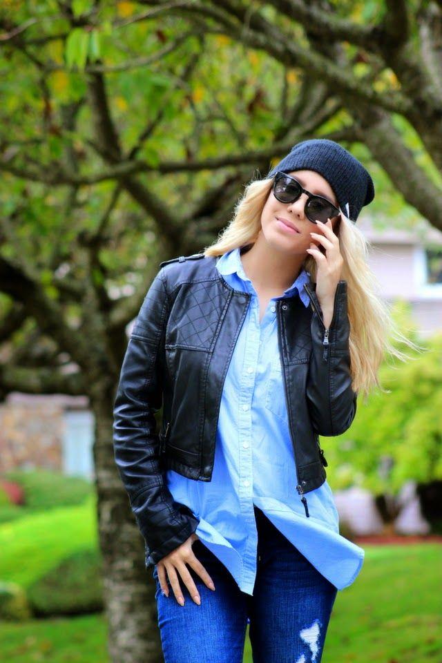 Outfit details: beanie, Neft // sunglasses, Aldo // oversized boyfriend-shirt, Aritzia // cropped leather jacket, Target // jeans, Hollister // shoes, Converse