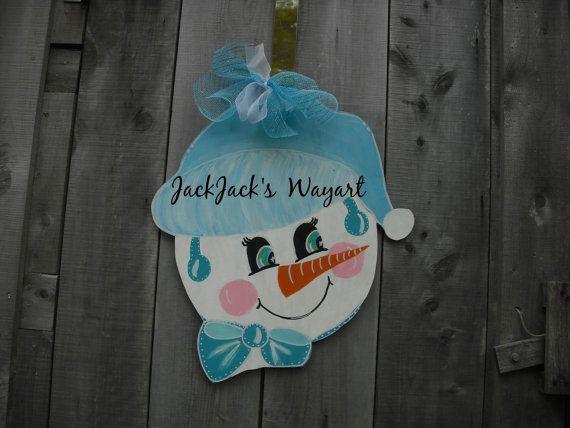 Unique gifts Snowman door art  Door Sign by JackJacksWayart