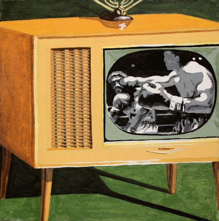 anni 60: un incontro di boxe alla tv , in bianco e nero- Opera di Massimo Amadesi