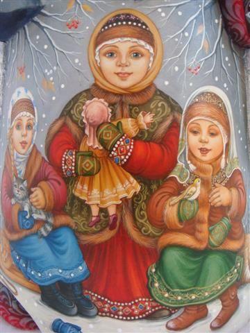 Russian Santa Purveyors -blue Russian Santa holding large lantern