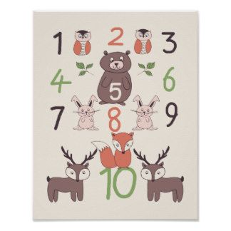 Woodland Animals And Numbers Nursery Poster