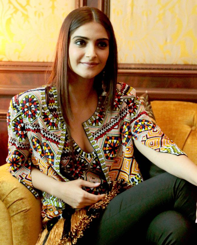Sonam Kapoor at a promotional event for 'Khoobsurat'.