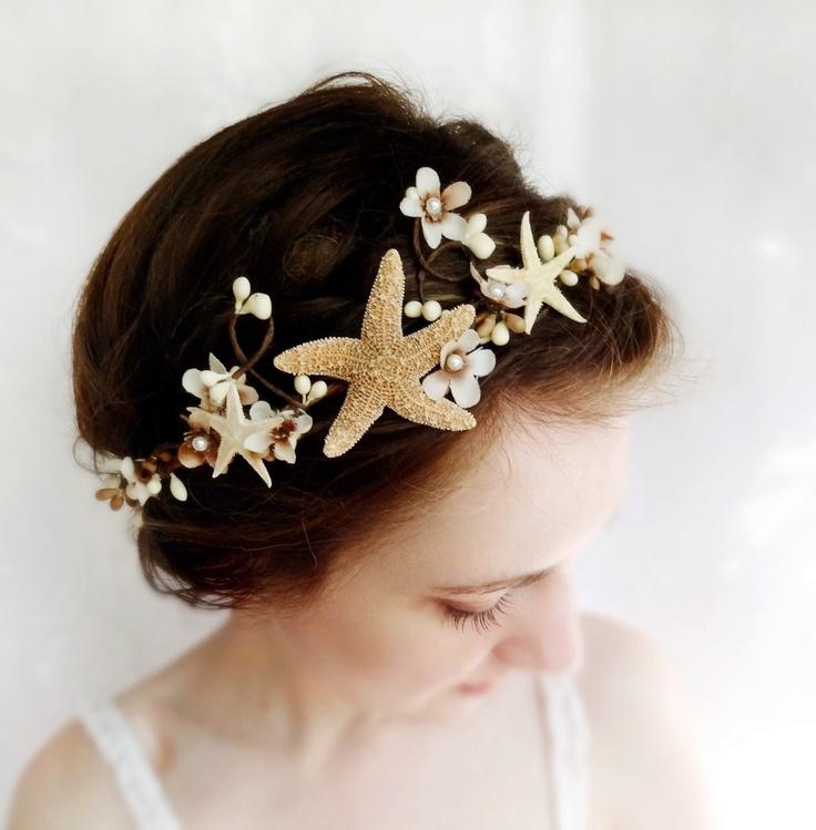 seashell hair accessory, beach wedding, starfish head piece, bridal hair accessory - SEA MAIDEN - mermaid, white, taupe flower. $95.00, via Etsy.