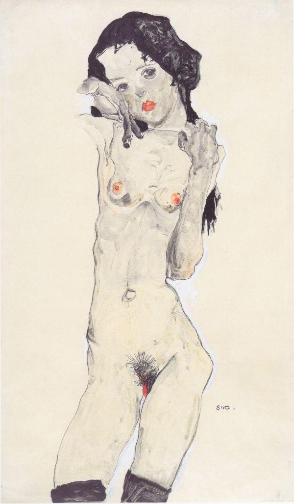 Schwarzhaariger Mädchenakt / Black Haired Girl Act by Egon Schiele - Pictify - your social art network