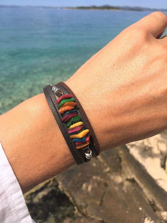 Shell bracelets Colorful bracelets Wrap bracelet Beaded bracelet Yellow bracelet Natural shell beads Gift Gift for mum  Free shipping