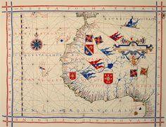 Pre-mercator navigation chart of the Coast of Africa (1571), by Fernão Vaz Dourado (Torre do Tombo, Lisbon).