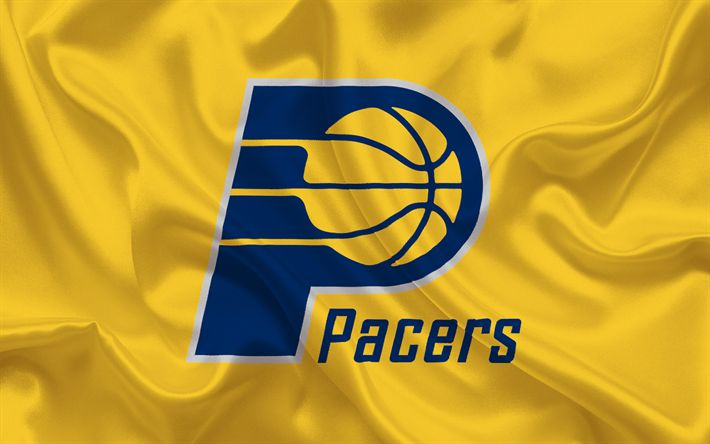 Download wallpapers Indiana Pacers, Basketball club, NBA, USA, basketball, Indiana Pacers emblem, logo, yellow silk