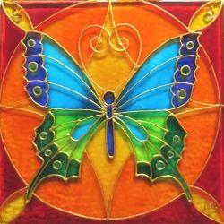 """Ručně malovaná vitráž - """"Motýl"""" (cca 12x12 cm) Hand Painted Stained Glass"""