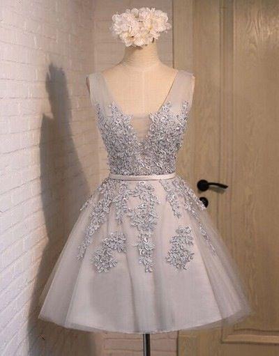 2016 Short V Neck Applique Tulle Prom Party Bridesmaid Graduation Formal Dress