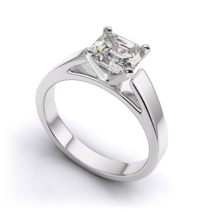 1 Ct princess cut hadmade designer diamond ring. Choice of 9K/14K/18K white, yellow and rose gold, platinum and palladium. Product No: PY11008