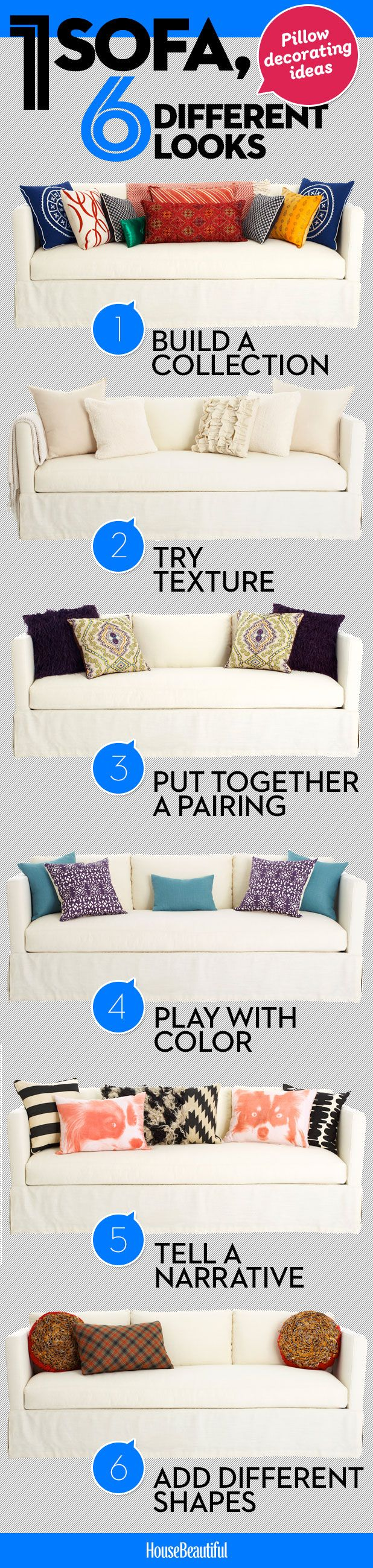 These quick decorating ideas will give your sofa a new lease of life. Try pairing bold scatter cushions with texture.