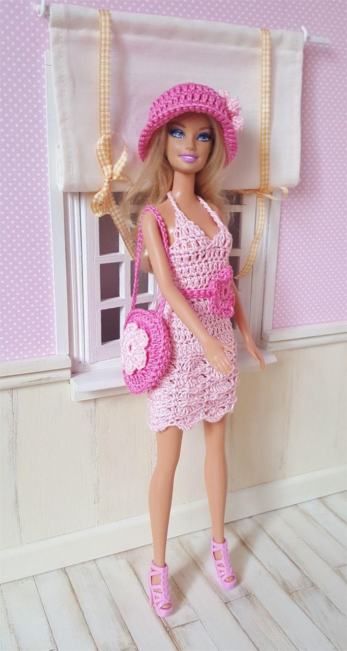 """121- FICHE PATRON CROCHET Ensemble """"Glycine"""" pour poupée Barbie : Jeux, jouets par atelier-crochet"""