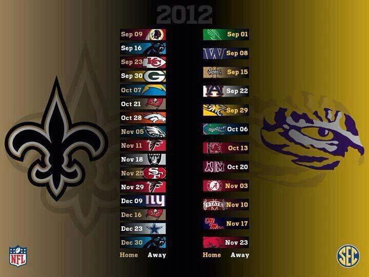 saints football schedule 2013 | 2012 Saints/LSU Schedule (Posted on 7/11/12 at 1:40 pm)