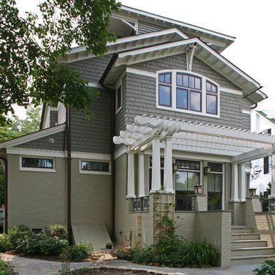 a house in a garden-two tone. Darker top, lighter bottom