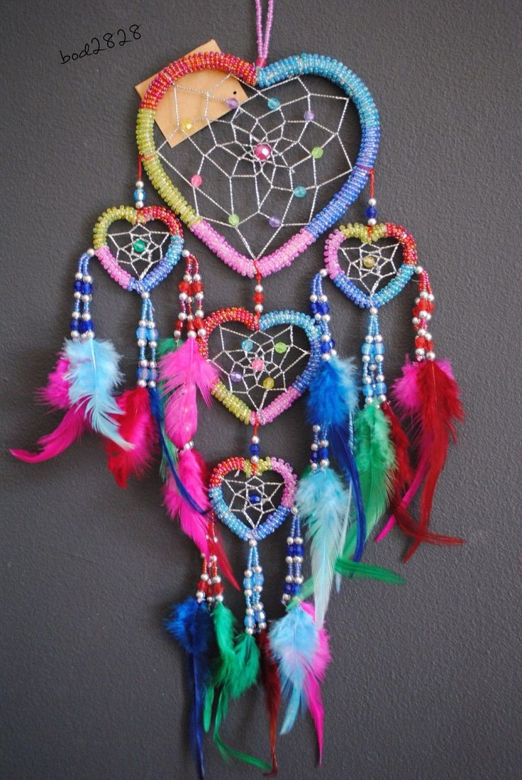 Gorgeous 5 Colour Beaded Triple Heart Shaped Dream Catcher | eBay