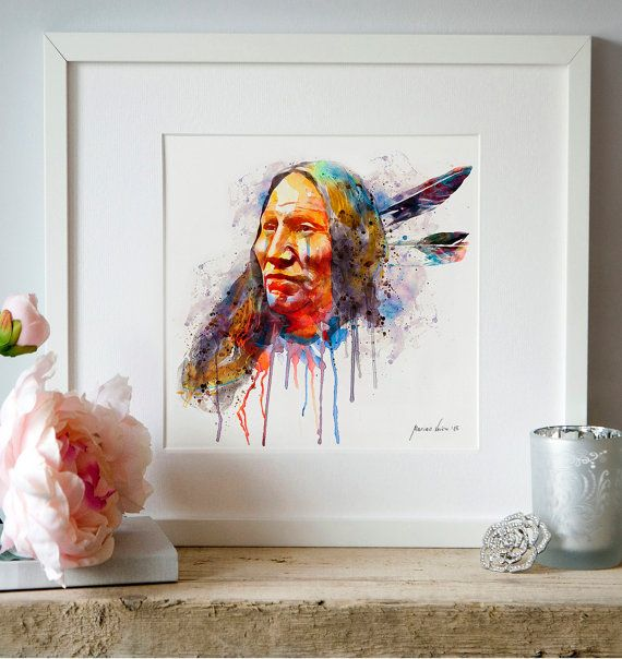 Native American Watercolor portrait Indian Warrior by Artsyndrome