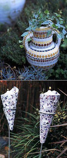 Мозаичные цветочные горшки и цветочницы для сада - своими руками.