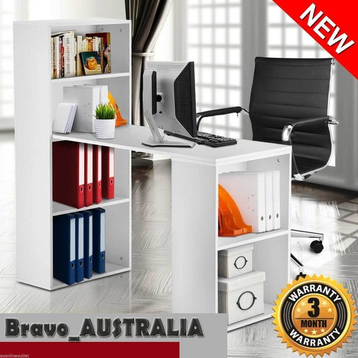 NEW Office Computer Desk Table 6 Storage Shelf Bookcase Student Study White