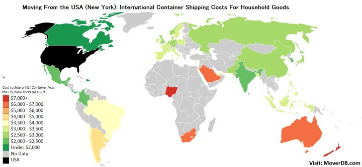 International Container Shipping Costs from the United States (New York)