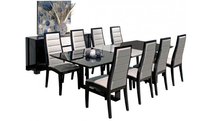 Vanguard Black Lacquer Dining Table Set In 2021 Lacquer Dining Table Modern Dining Room Contemporary Dining Table