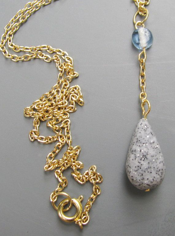 Dainty Bohemian Necklace with Faux Granite Teardrop Pendant
