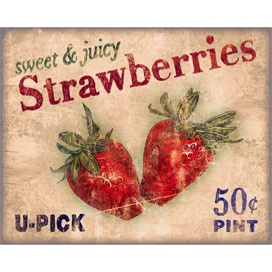 Roadside Strawberries Canvas: Strawberry Fields, Printable, Roadside Strawberries, Strawberry Lane, Strawberries Vintage, Strawberries Sign, Strawberries Canvas, Strawberry Obsession