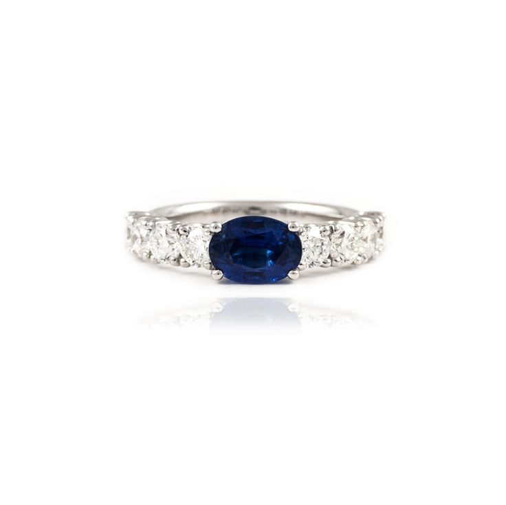 An elegant sapphire and diamond ring.