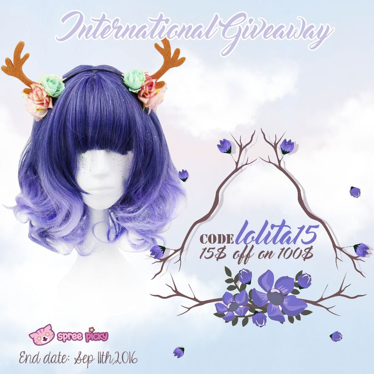 Join in this giveaway and get a new look Prize: One Purple Lolita Wig  1. Follow @spreepicky 2. Like and Repin this pic  3. Finish above and enter here: https://goo.gl/G11pzN 4.Ends on Sep 11th, 2016  During this period , use code : Lolita15 for 15$ off on 100$