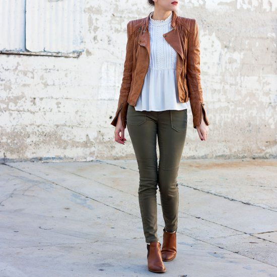A tan leather jacket + booties are closet staples for fall!