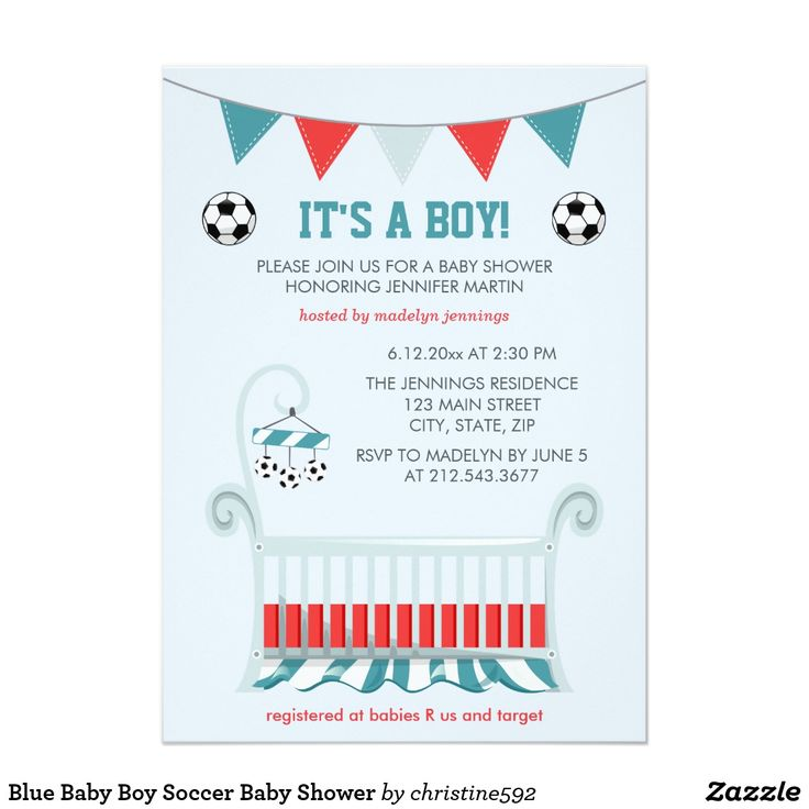 """Blue Baby Boy Soccer Baby Shower Card This adorable baby shower invitation says """"It's a Boy"""" under a bunting banner colored in dark turquoise / teal, red, and gray. There is a cute matching baby boy's crib in the same colors, with a tiny soccer ball baby mobile hanging! There are also two soccer balls on each side of the card. The background is a soft blue. This cute invitation for a baby boy shower will be perfect for the all-star athlete soccer player to be! Crib graphic by Miss Pickle's…"""
