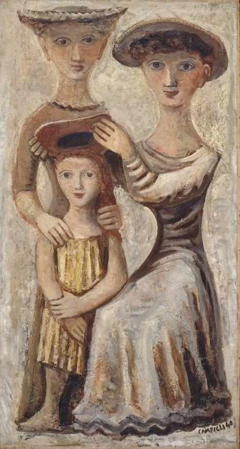 """Massimo Campigli (Italian, 1895-1971) - """"Donne che impongono il cappello"""", 1940"""