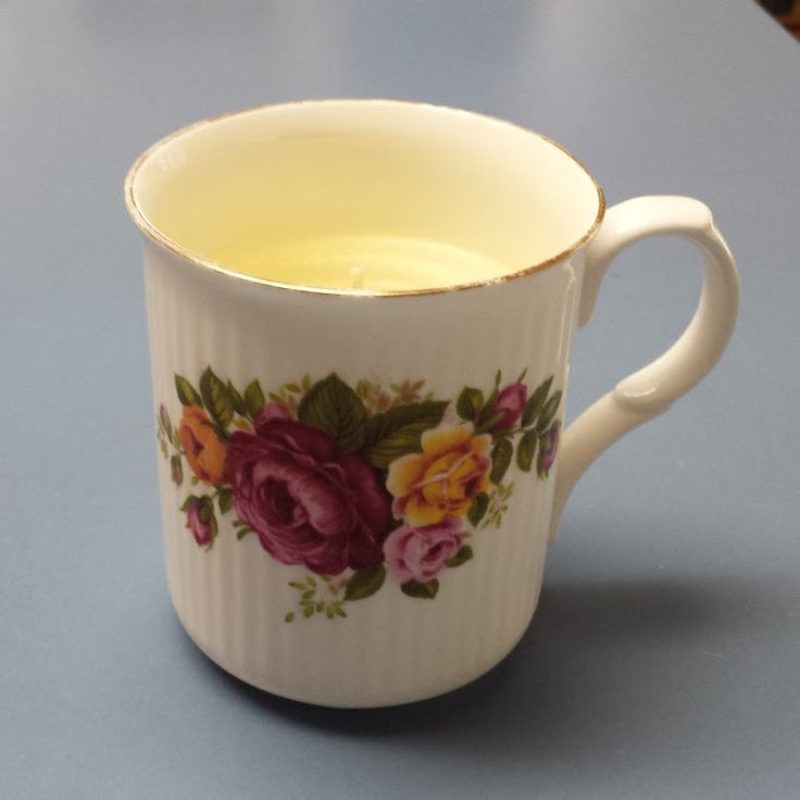 Vanilla Scented Candle in a Vintage Bone China Coffee Cup #kjcreations #diy #crafts #homedecor #shabbychic #farmhousechic #vintage #upcycled #bonechina #coffeecup #candle