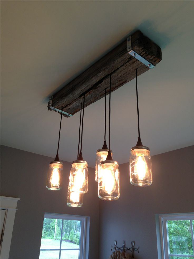 Mason jar and reclaimed wood light fixture my creations for Ceiling lamp wood