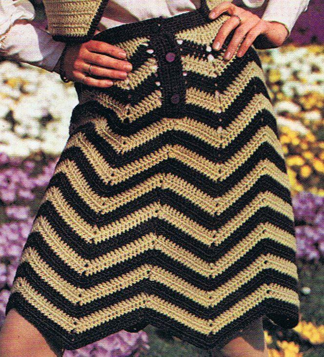 Chevron Skirt Crochet Pattern and Bolero Crochet Pattern Vintage 1970s PDF (T212). $3.20, via Etsy.