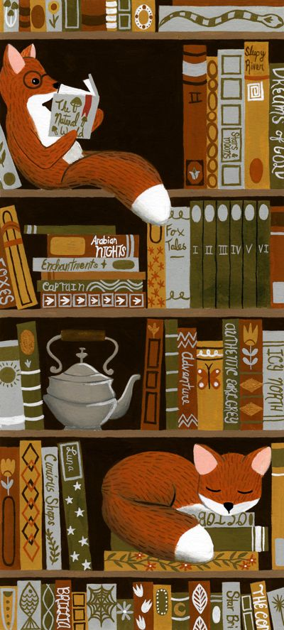 Bookshelf Fox by Annya Marttinen