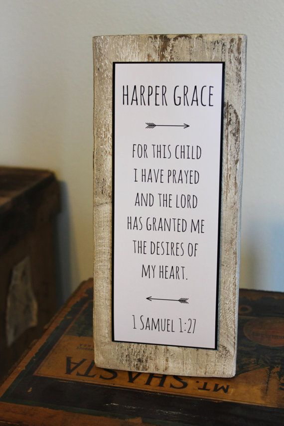 """Baby Nursery Quote Sign - Rustic Decor - New Parent Gift - """"FOR THIS CHILD I have prayed"""" - Bible Verse quote - Customized Nursery Name sign"""