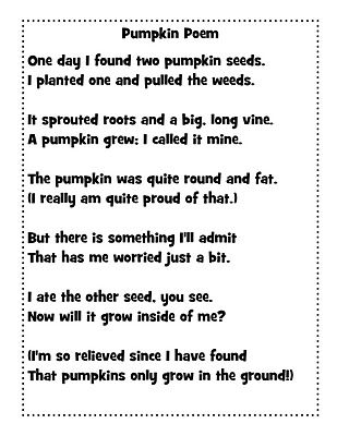 Just 4 Teachers: Sharing Across Borders: Pumpkin Poem and Cute Pumpkin Out of Scrapbook Paper!