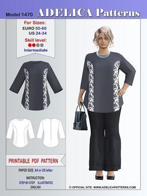 Adelica pattern 1470 Plus size blouse sewing pattern 3